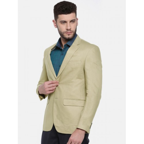 Peter England Beige Single-Breasted Neo Linen Slim Fit Formal Blazer