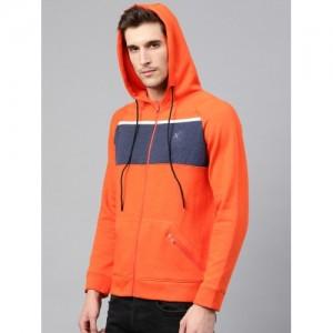 HRX by Hrithik Roshan Men Orange Solid Hooded Active Sweatshirt