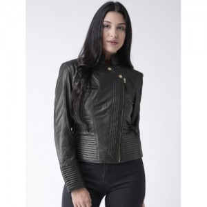 BARESKIN Women Black Solid Lightweight Leather Biker Jacket