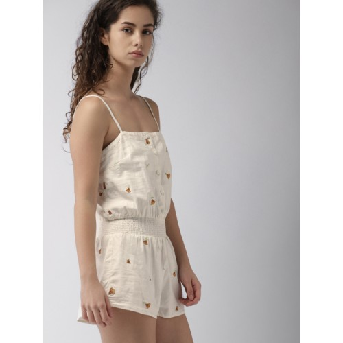 FOREVER 21 Off-White Self Design Playsuit