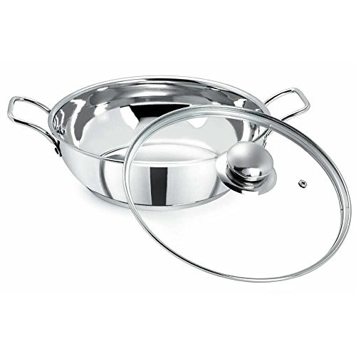 Pristine Induction Compatible Stainless Steel Kadai with Glass Lid, 3Litres