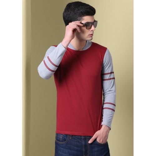 GHPC Maroon & Grey Solid Men Mandarin Collar T-Shirt