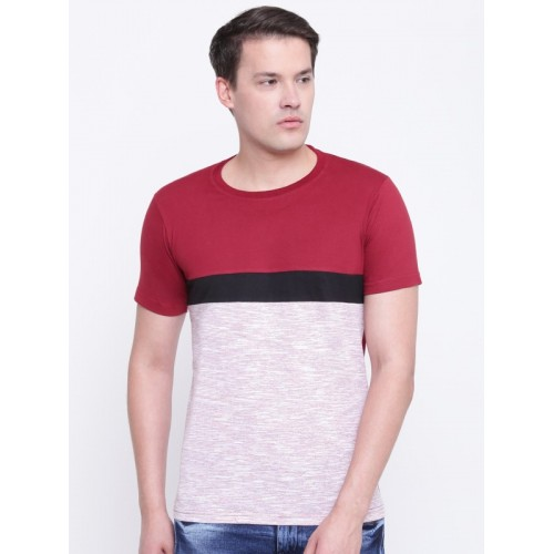 GHPC Maroon & White Solid Men Round Neck T-Shirt