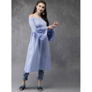 Anouk Blue Printed A-Line Off-Shoulder Kurta