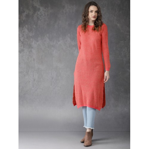 0a2d6935afb Buy Anouk Women Coral Pink Knitted Sweater Kurta online