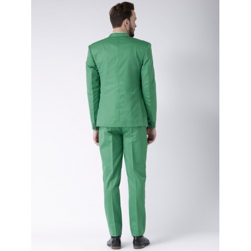 Hangup Green Polyester Viscose Single-Breasted Regular Fit Suit