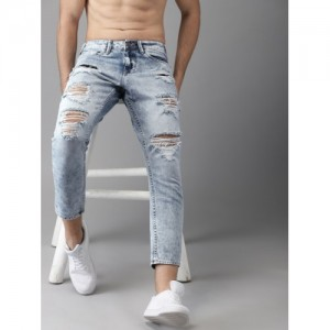 HERE&NOW Men Blue Slim Fit Mid-Rise Highly Distressed Cropped Jeans