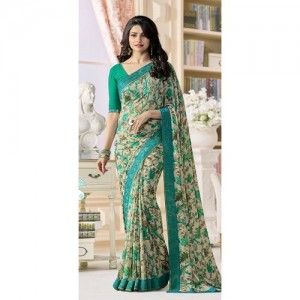 Multi Color Georgette Printed Saree With Blouse