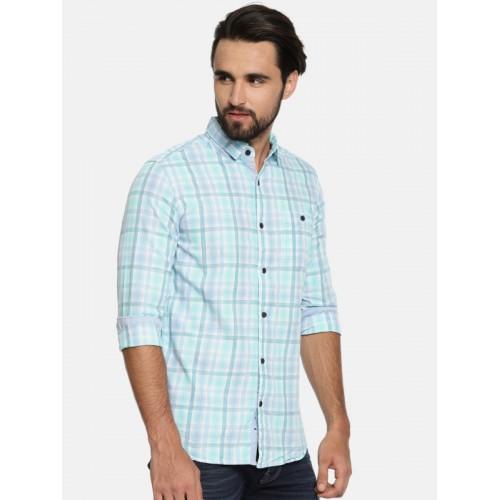 LOCOMOTIVE Men Blue & White Slim Fit Checked Casual Shirt