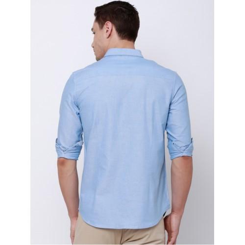 LOCOMOTIVE Men Blue Slim Fit Solid Casual Shirt