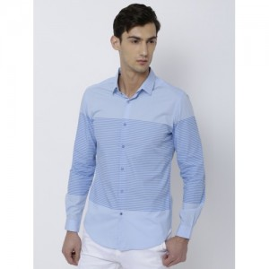 347ed91541 Black coffee Men Blue Slim Fit Striped Casual Shirt