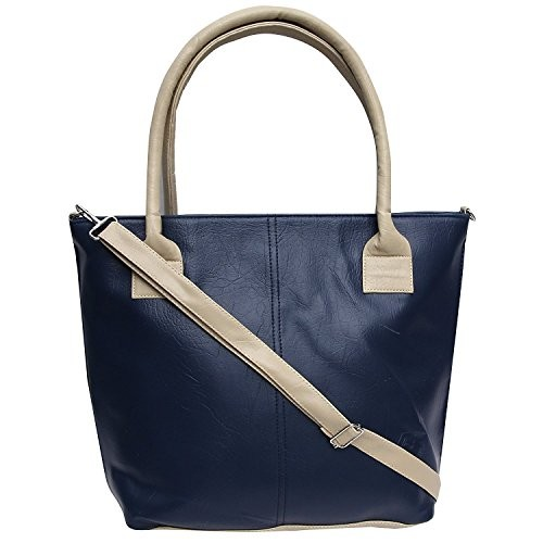 Glamora Women's Handbag (PU Leather_Blue_12 X 16 X 4.5 inches)