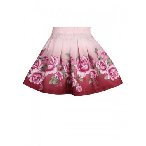 4564c5111a Buy CUTECUMBER Girls Peach & Maroon Polyester Printed Flared Skirt ...