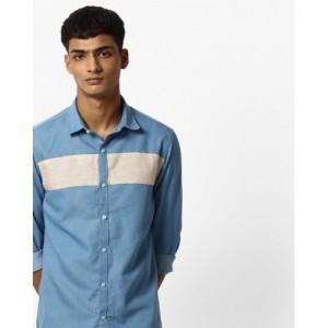 MR.BUTTON Panelled Slim Fit Denim Shirt