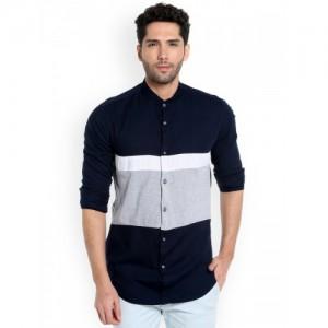 Campus Sutra Navy Blue & Grey Cotton Colorblock Casual Shirt