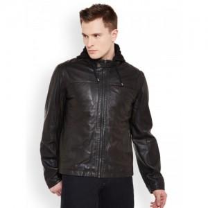 Justanned Men Black Solid Leather Hooded Jacket