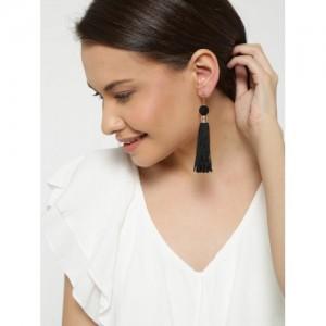 Blueberry Black Tassel Drop Earrings