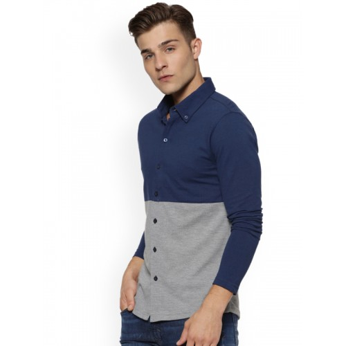 Campus Sutra Men Blue & Grey Colourblocked Casual Shirt