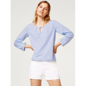 de1cf4f63aa ESPRIT Women White   Blue Striped Blouson Top