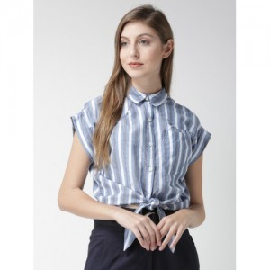 FOREVER 21 Women Blue Striped Shirt Style Crop Top