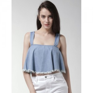 FOREVER 21 Women Blue Solid Chambray A-Line Crop Top