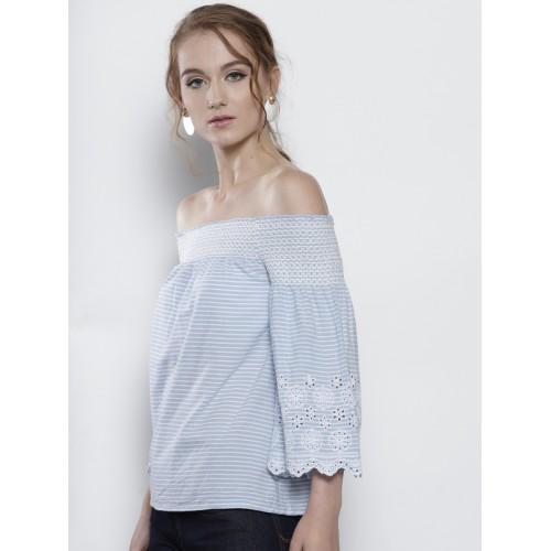 DOROTHY PERKINS Women Blue & White Striped Bardot Top