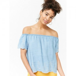 FOREVER 21 Women Blue Solid Chambray Bardot Top