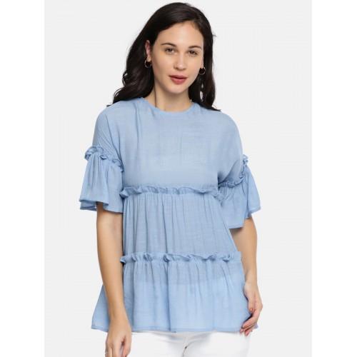 047ab89bb9b Buy KIS Women Blue Solid Tiered Top online | Looksgud.in