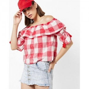 ONLY Women White & Coral Red Checked Bardot Top