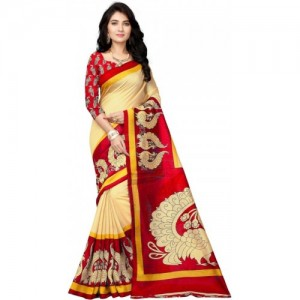 Vimalnath Red Synthetics Printed Bhagalpuri Kota Silk Saree