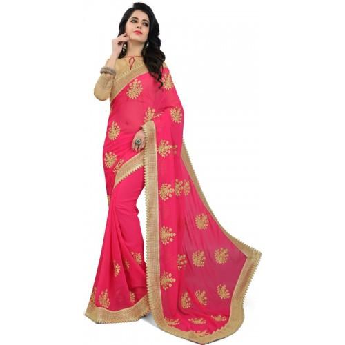Om Shantam Sarees Pink Embroidered Bollywood Georgette Saree