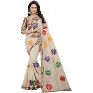 Online Bazaar Beige Embroidered Fashion Poly Chanderi Saree