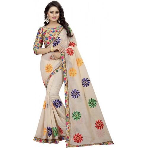 Online Bazaar Beige Embroidered Fashion Poly Chanderi Saree