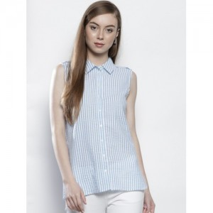 DOROTHY PERKINS Women White & Blue Regular Fit Striped Casual Shirt