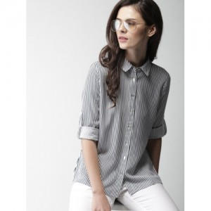 Mast & Harbour Women White & Navy Regular Fit Striped Casual Shirt