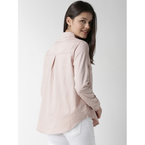 FOREVER 21 Women Pink Regular Fit Solid Casual Shirt