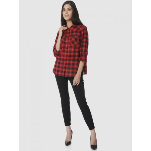Vero Moda Women Red & Black Regular Fit Checked Casual Shirt