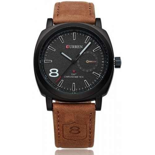 CURREN Brown Leather Solid Analog Watch