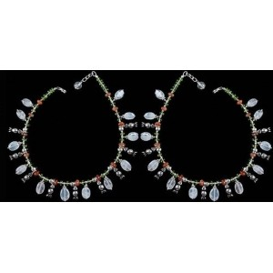 Exotic India Multi color Gemstone Anklets (Price Per Pair) - Sterling Silver