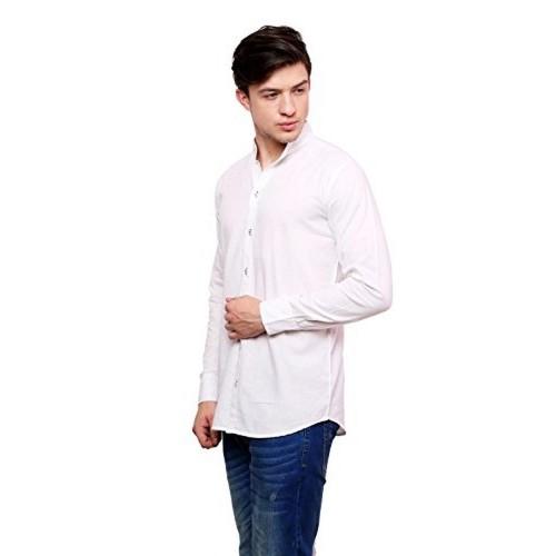 Dennis Lingo White Cotton Casual Shirt