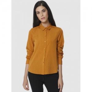 Vero Moda Women Mustard Yellow Regular Fit Printed Casual Shirt