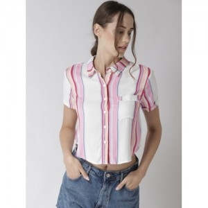 FOREVER 21 Women White & Pink Regular Fit Striped Crop Casual Shirt