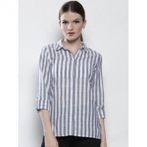 DOROTHY PERKINS Women White & Navy Blue Regular Fit Striped Casual Shirt