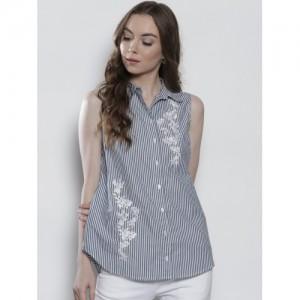 DOROTHY PERKINS Women Navy Blue & White Regular Fit Striped Casual Shirt