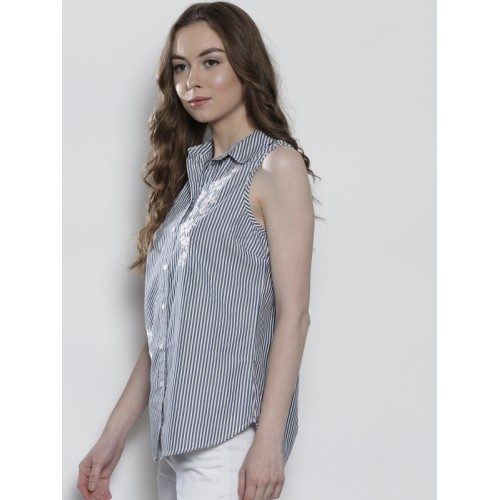 DOROTHY PERKINS Women Navy Blue & White Regular Fit Striped Casual Shirt