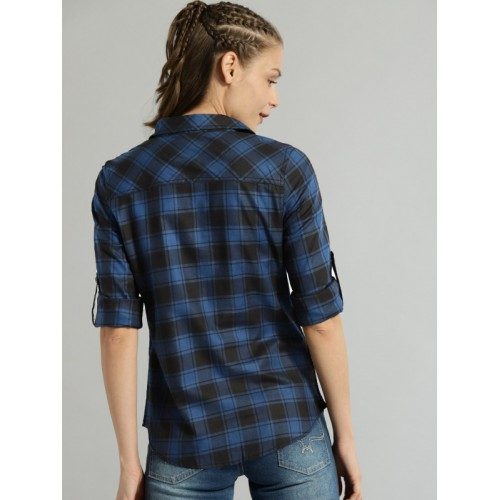 Roadster Women Blue & Black Regular Fit Checked Casual Shirt