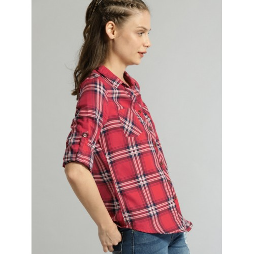 Roadster Women Red & Blue Regular Fit Checked Casual Shirt