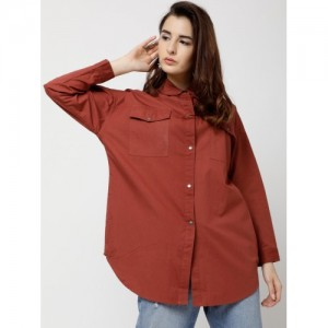 Tokyo Talkies Women Rust Regular Fit Solid Casual Shirt