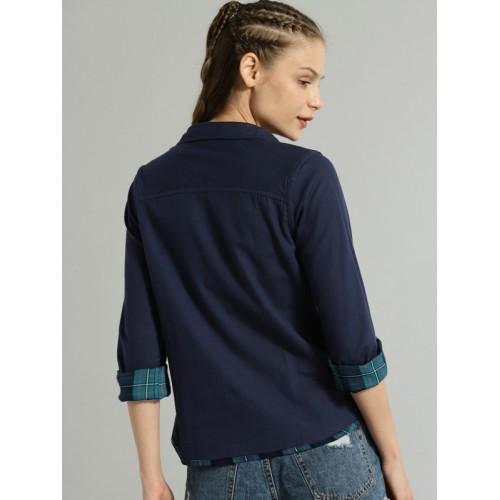 Roadster Women Green & Navy Blue Regular Fit Checked Reversible Casual Shirt