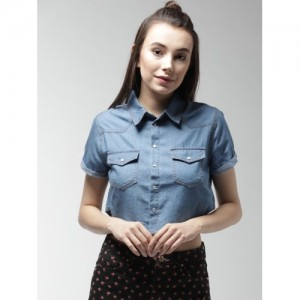 FOREVER 21 Women Blue Regular Fit Chambray Casual Shirt